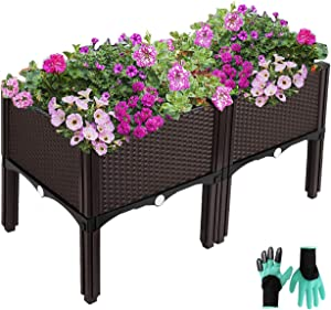 Elevated Planters Raised Garden Beds Plastic, Vegetables Plant Raised Bed Kits, Herbs Flowers Growing Box Container with Legs & Drainage Holes for Garden Patio Balcony Restaurant, Brown (2 Packs)