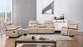American Eagle Furniture 3 Piece Dunbar Collection Complete Bonded Leather  Reclining Living Room Sofa Set,