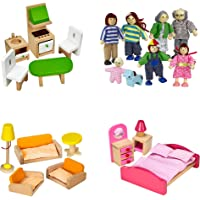 Dragon Drew Dollhouse Furniture Set - Wooden - Living Room, Bedroom and Kitchen Accessories, Family Members, Pet – 100…