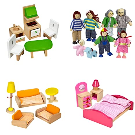 Amazon Com Dragon Drew Dollhouse Furniture Set Wooden Living
