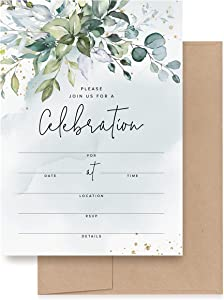 Bliss Collections 25 Invitations with Envelopes for All Occasions, Greenery Watercolors Invites Perfect for: Weddings, Bridal Showers, Engagement, Birthday Party or Special Event, Blank Fill in Design