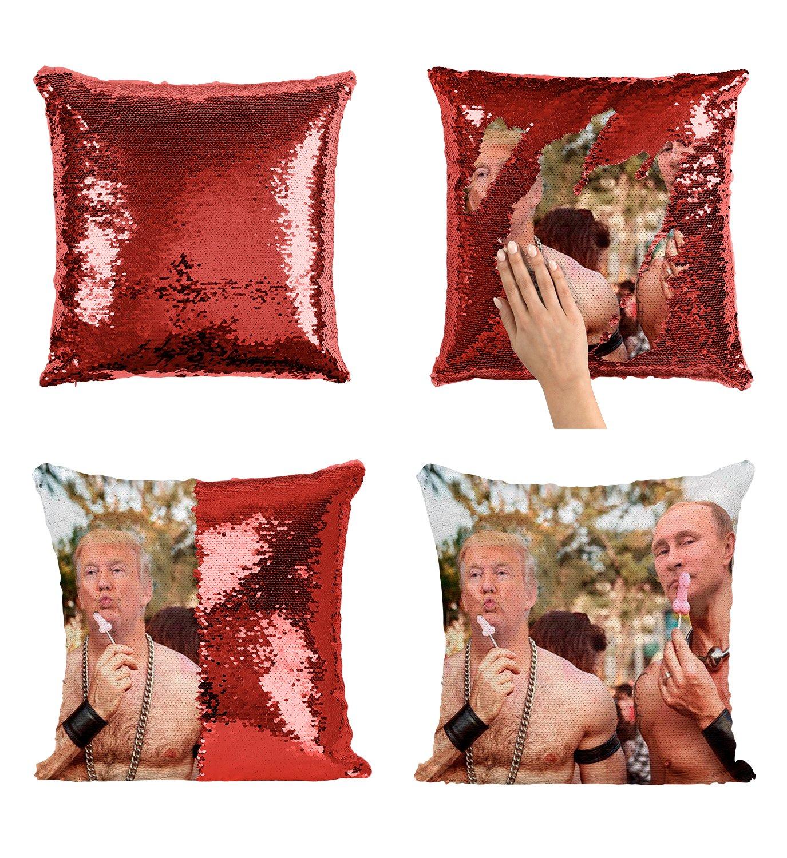 Putin Trump セクシーボディ ファンニー_P007 スパンコール枕 スパンコール枕カバー 2色枕 ギフトに最適 マジックピロー マーメイドピロー スケール枕カバー   B07H9C8RQK