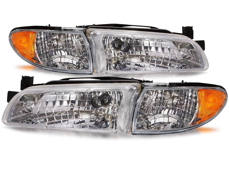 Headlights Depot Replacement for Pontiac Grand Prix New Headlamps Set Headlights Pair HeadlightsDepot GM2502170 GM2503170