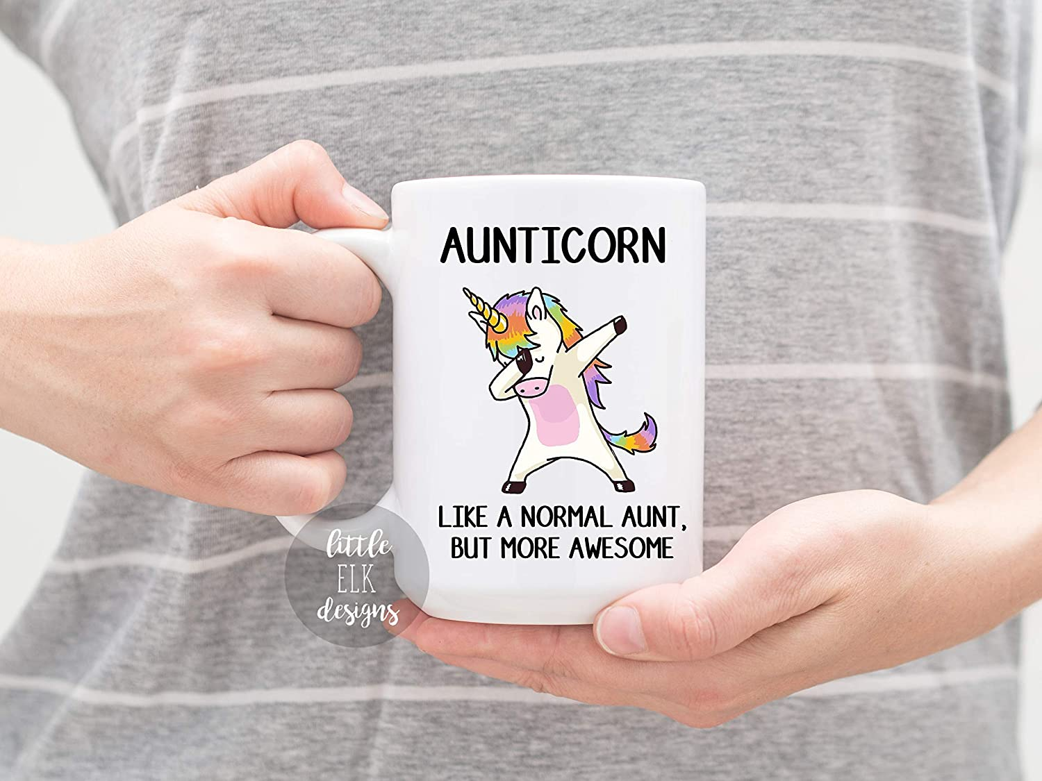 Unicorn Gift For Sister Ceramic Coffee Mug Large 15 oz White Cup Aunticorn Like A Normal Aunt Only Cooler