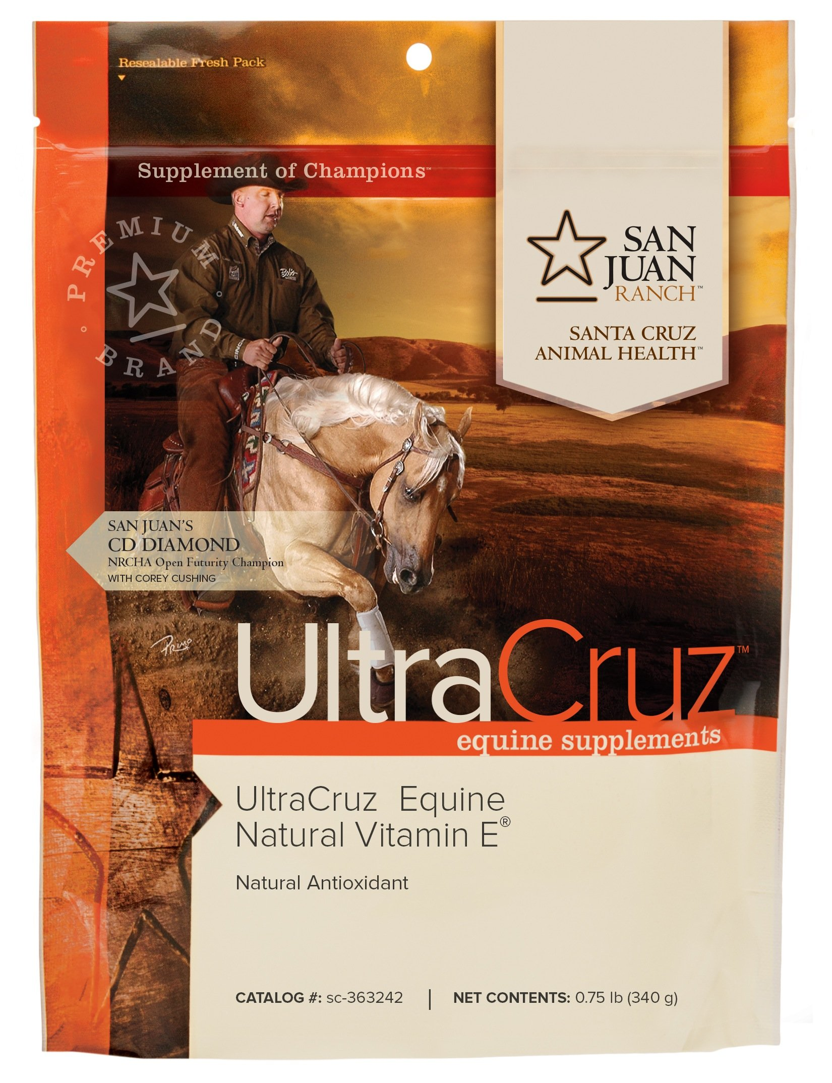 UltraCruz Equine Natural Vitamin E Supplement for Horses, 0.75 lb, Powder (30 Day Supply) by UltraCruz