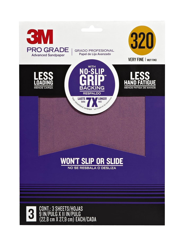 3M 25320P-G Pro Grade No-Slip Grip Advanced Sandpaper, 9-Inch x 11-Inch, 320 Grit, Pack of 3