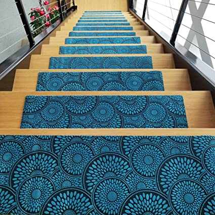 Bon Designer Indoor Stair Mats   Ultra Thin Microfiber Stair Carpet With  Slip Resistant Rubber