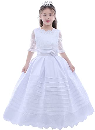 9d9ce125e Amazon.com  Dobelove Girl s Ball Gown Half Sleeves First Communion ...