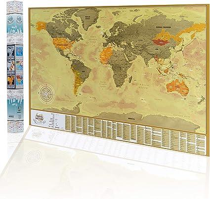 Mapa del Mundo Para Rascar, Mapa Detallado con Las Banderas de Los ...