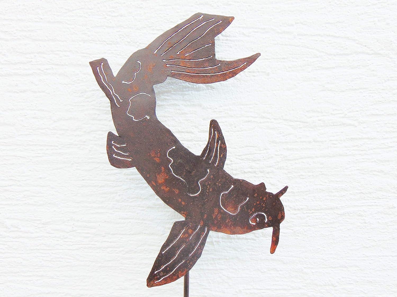 Edelrost Fisch Koi  Deko Koi aus Metall Rost