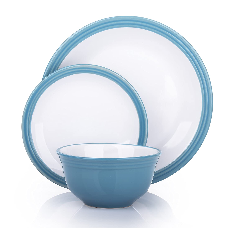 12 Piece Blue Denim Camden Banded Stoneware Dinner Set: Amazon.co.uk ...