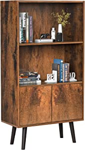 Homfio Retro Bookcase, Utility 2-Tier Bookshelf, Freestanding Storage Cabinet with Doors, Bookshelf Furniture for Living Room, Office, Bedroom, Library, Rustic Brown