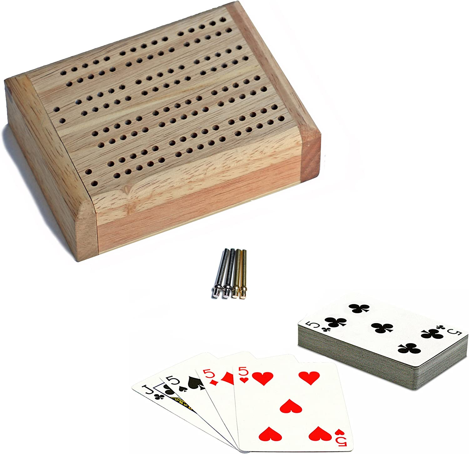 Wood Folding 2 Track Board with Metal Pegs WE Games Mini Cribbage Set