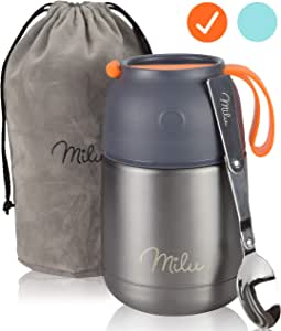 Milu Thermos Food Jar with Folding Spoon 15,2 oz / 22 oz Double Wall Insulated Stainless Steel Food Containers Wide Mouth Lunch Box for Hot & Cold Food for Kids Adults Babys – Gray/Orange 15,2 oz