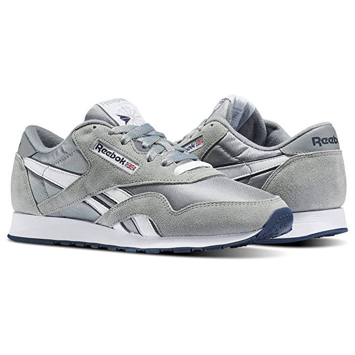 Amazon.com | Reebok Men Classic Nylon Gray Platinum Blue Size 8.5 US | Shoes