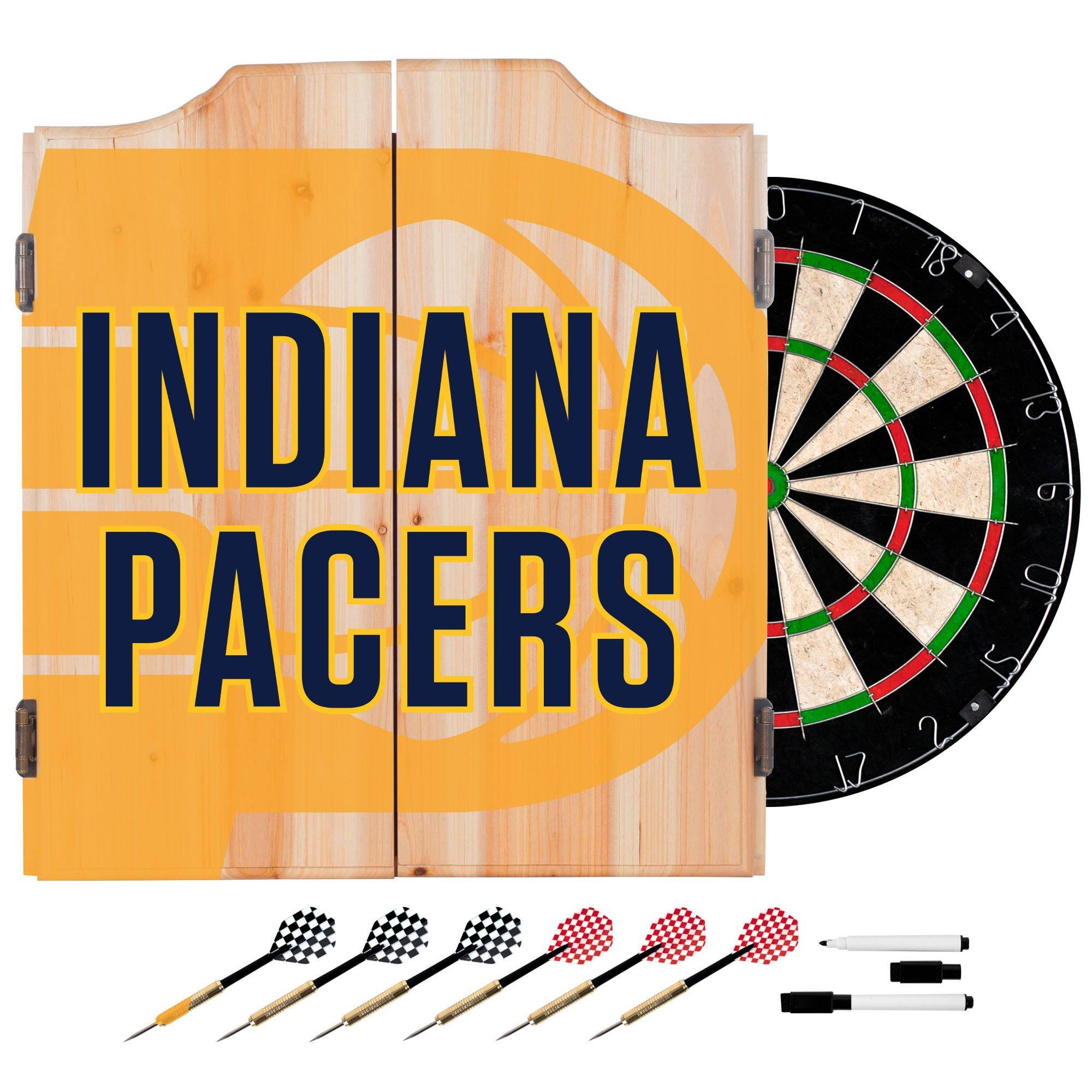 Trademark Gameroom NBA7010-IP2 NBA Dart Cabinet Set with Darts & Board - Fade - Indiana Pacers