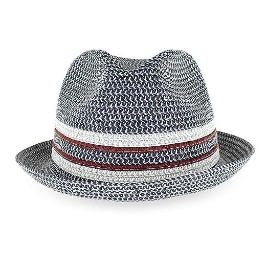 31eecf669 Belfry Men Women Summer Straw Trilby Fedora Hat in Blue Tan Black