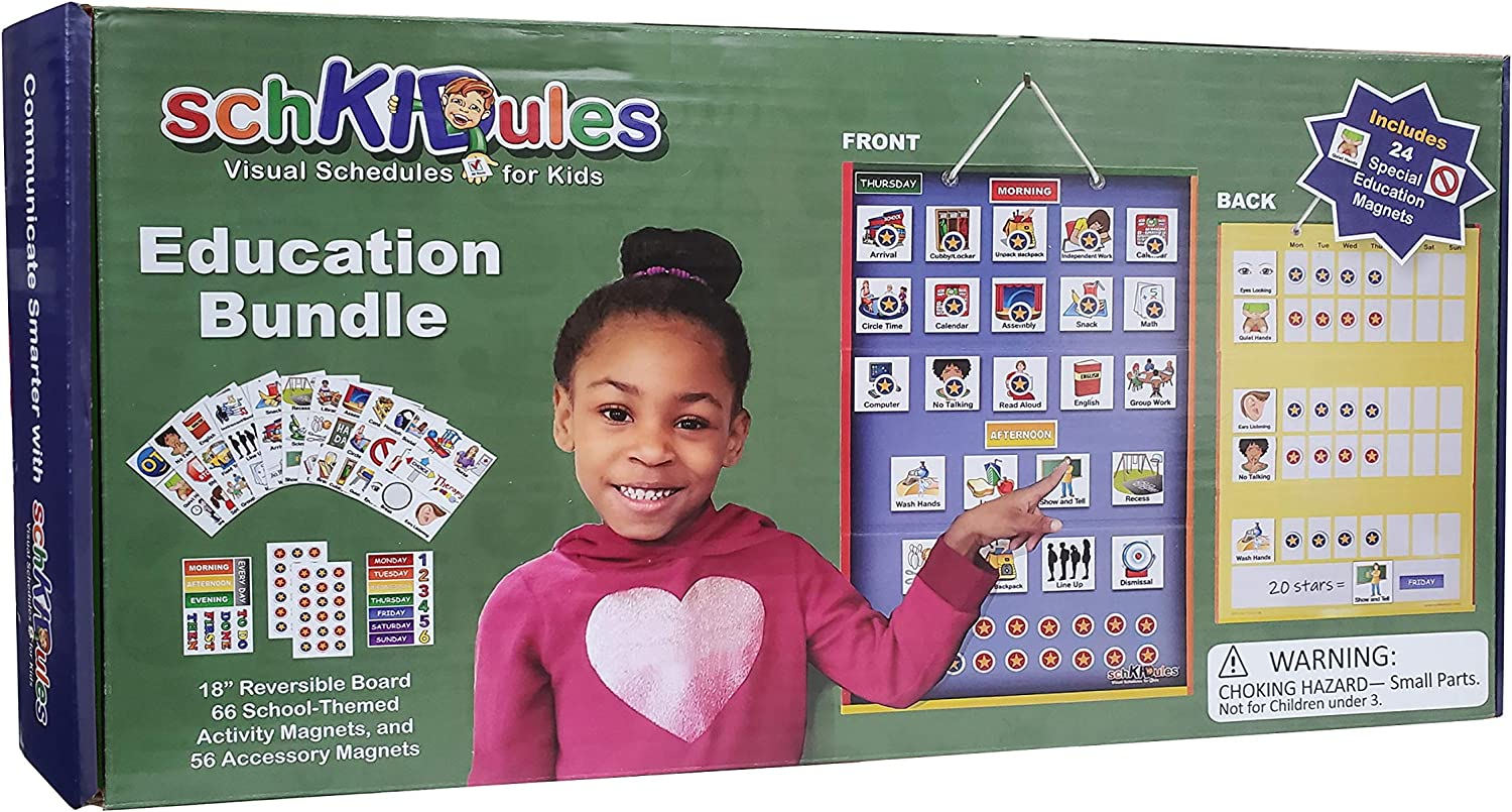 SchKIDules Visual Schedule for Kids Education Bundle Daily Activity Chart/ Weekly Progress Chart, 2-Sided Trifold Magnet Board, 124 Magnetic Picture Cards (for School, Preschool, Homeschool Children)