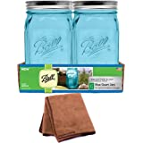 Ball Mason Jar-32 oz. Aqua Blue Glass Ball Collection Elite Color Series Wide Mouth, 4-Pack with Cleaner Cloth