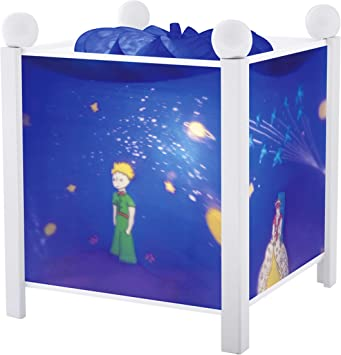 TROUSSELIER Le Petit Prince Saint Exupéry Veilleuse Lanterne Magique Idéal Cadeau de Naissance Dessin animé Couleur Bois Blanc Ampoule