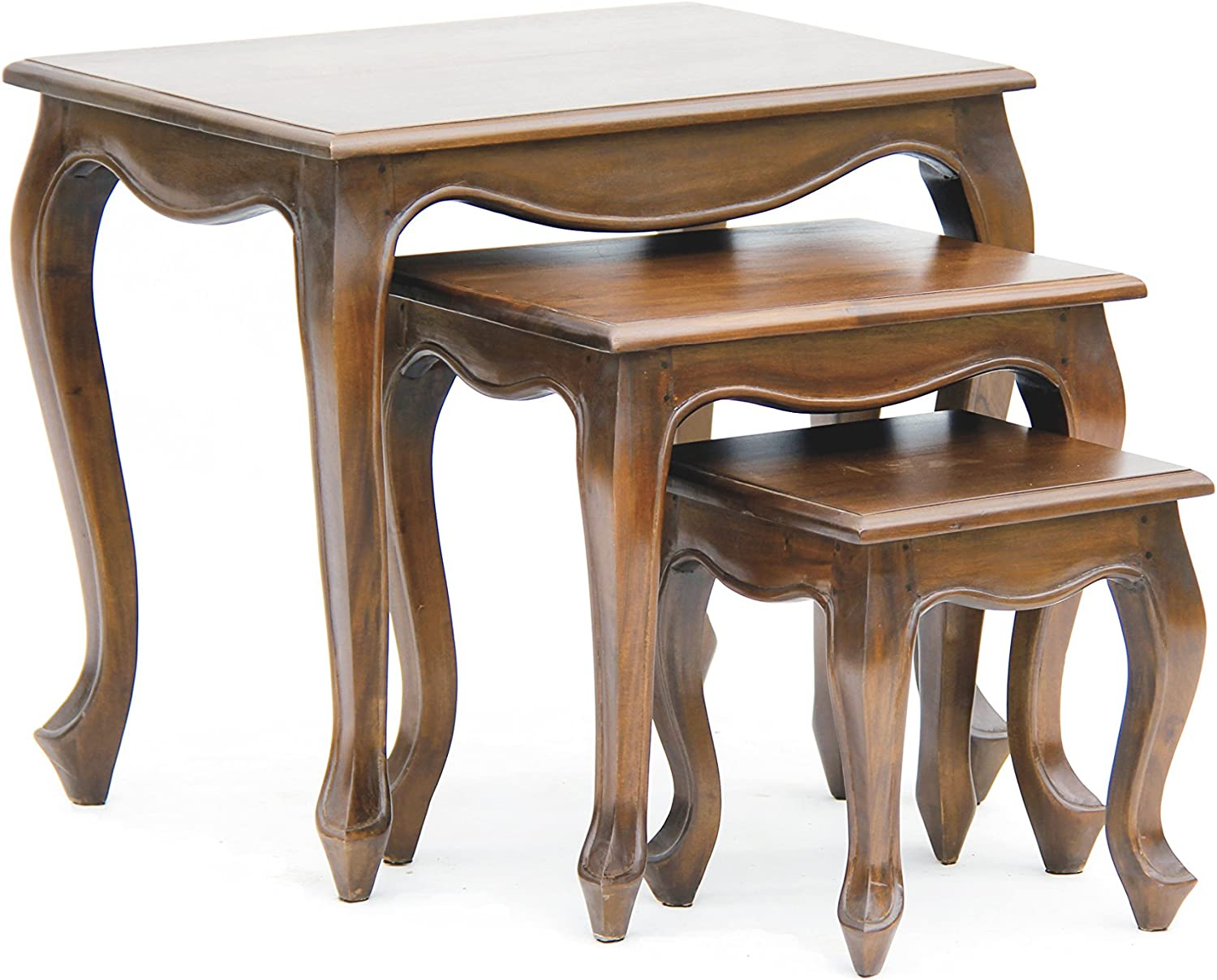 """NES Furniture NES Fine Handcrafted Furniture Solid Mahogany Wood Queen Anne Nesting Tables - 24"""", Light Pecan"""