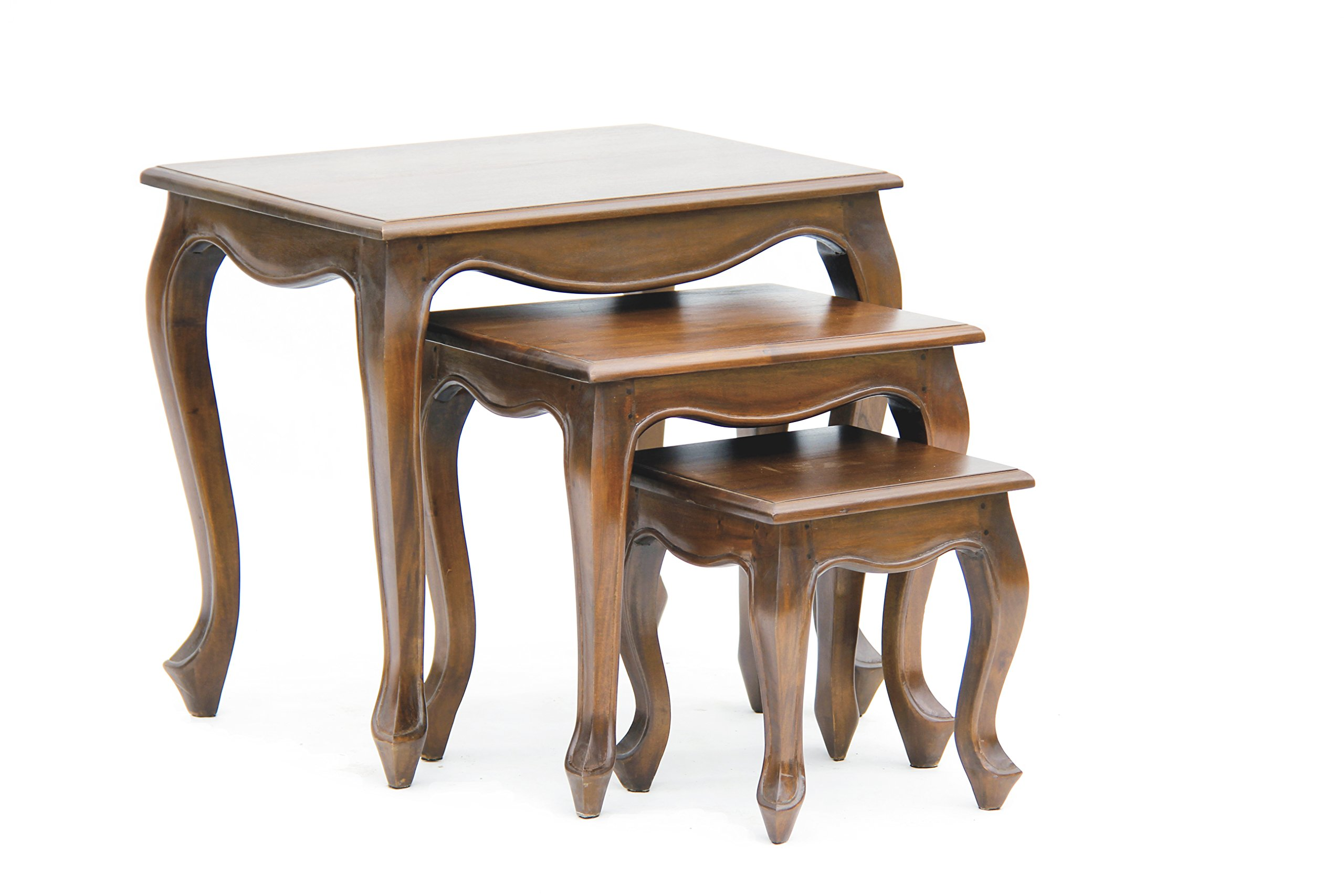 NES Furniture NES Fine Handcrafted Furniture Solid Mahogany Wood Queen Anne Nesting Tables - 24'', Light Pecan by NES Furniture