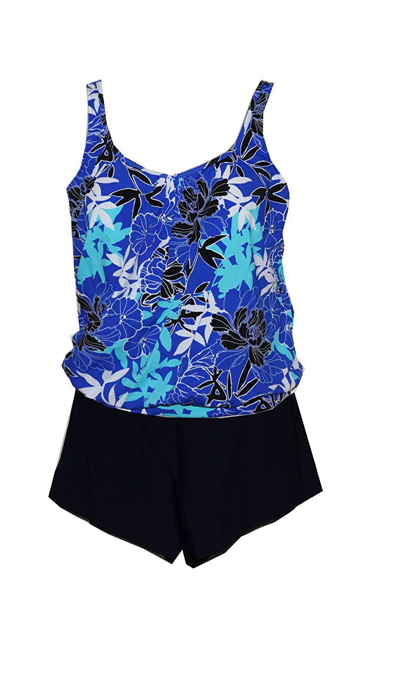 e6a8d8f43d9 Penbrooke Exotic Journey Plus Size Blouson Shortini Swimsuit - Blue at  Amazon Women s Clothing store