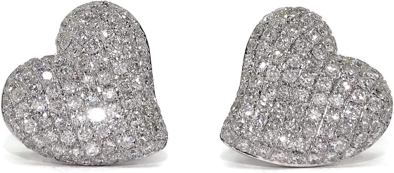 Pendientes con diamantes de 1.25cts y oro blanco de 18k con forma de corazón de 1.40cm de diámetro con cierre presión.