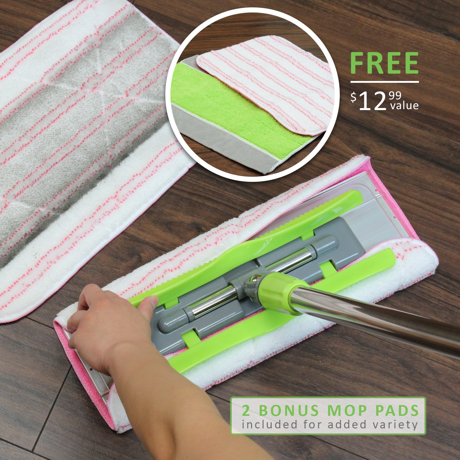 LINKYO Microfiber Hardwood Floor Mop - 3 Reusable Flat Mop Pads and Extension Included, for Wet or Dry Floor Cleaning by LINKYO (Image #7)