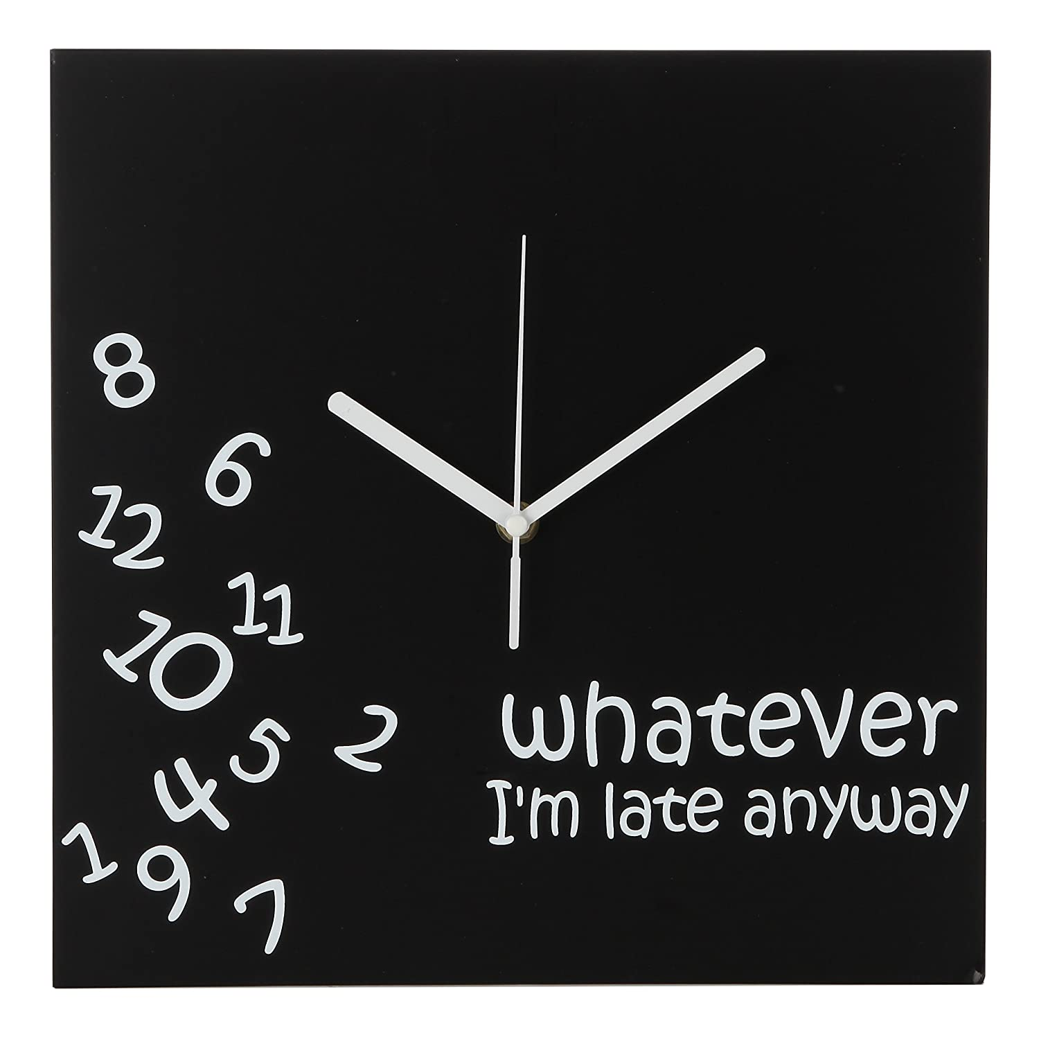 Whatever I'm Late Anyway | Battery Operated Unique Wall Clock For Living Room, Bedroom Or Kitchen Use (Black) by Arad
