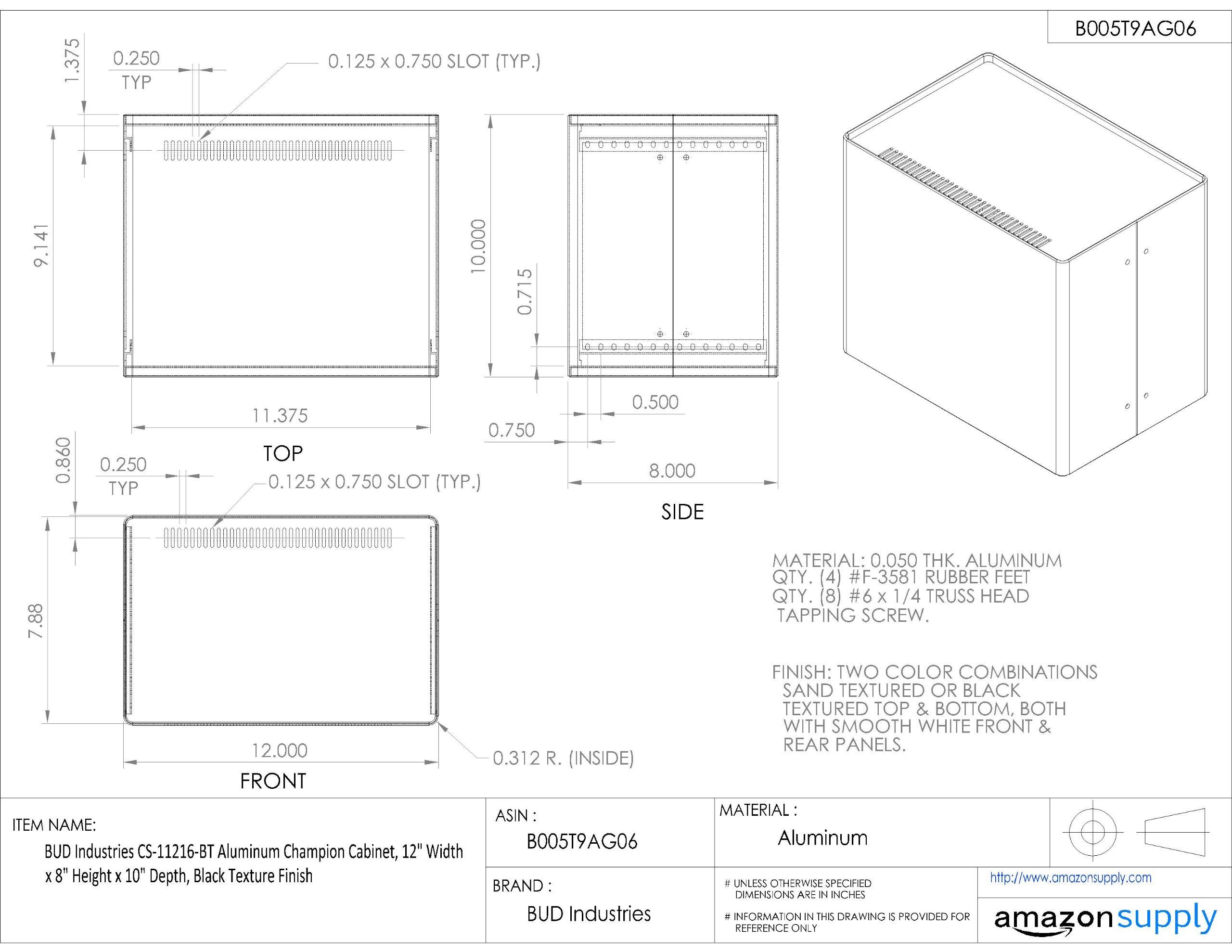 BUD Industries CS-11216-BT Aluminum Champion Cabinet, 12'' Width x 8'' Height x 10'' Depth, Black Texture Finish