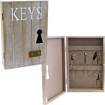 Caja para llaves (25 X 17 X 6 Cm Con 6 ganchos para llaves Box pared armario colgador para llaves (: Amazon.es: Bricolaje y herramientas