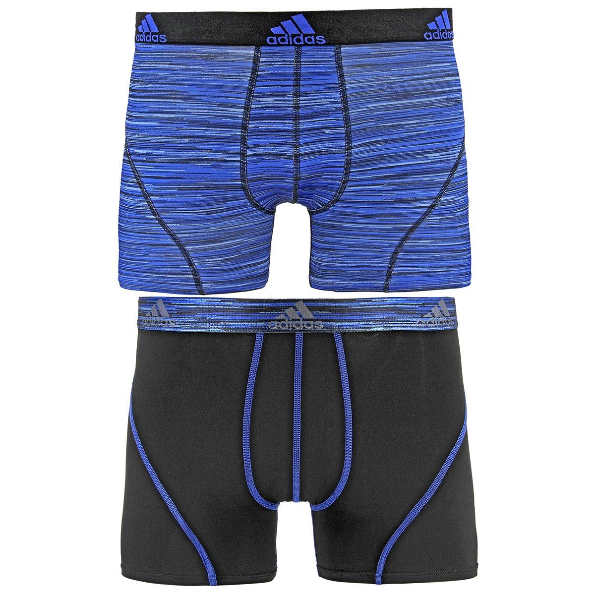 adidas Men's Sport Performance Climalite Trunk Underwear (2 Pack), Blue Looper Print/Black, Medium by adidas