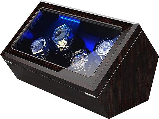 Caja Relojes Automáticos para Relojes, Iluminación LED Incorporada, Motor Japonés Silencioso, Cojines Suaves y Flexibles, Corteza de Pino (para 4 Relojes): Amazon.es: Relojes