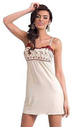 0628fcb145b79b Donna Elegantes und Hochwertiges Viskose-Negligee Nachthemd Sleepshirt im  edlen Muster in toller Geschenkbox (