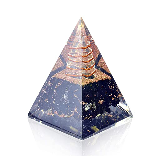 Orgone Pyramid-Black Tourmaline-Crystal-Chakra Balancing Orgone Energy Generator- Nubian Orgonite Pyramid for EMF Protection Healing Crystal Boost Immune System Meditation