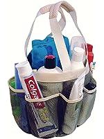 Portable Mesh Shower Caddy Tote plus PVC Zipper Bag for Gym Camp Travel and College Dorm, Grey-Cream