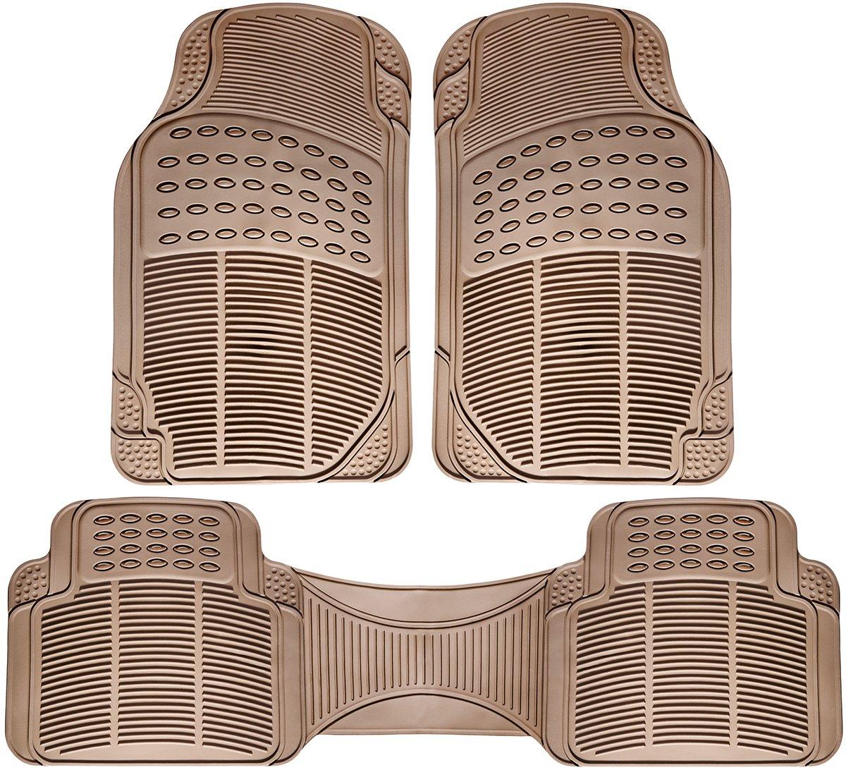 Rubber floor mats denver - Oxgord Universal Fit 3 Piece Full Set Ridged Heavy Duty Rubber Floor Mat Beige