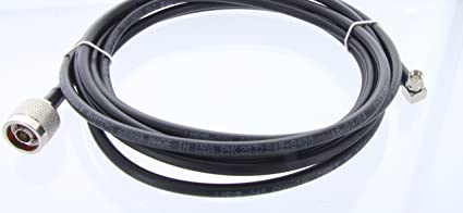 Times Microwave LMR-240 Coax Jumper with Right Angle SMA Male Connector to N Male | US Made LMR240 Double Shielded Coaxial Cable - 10 feet