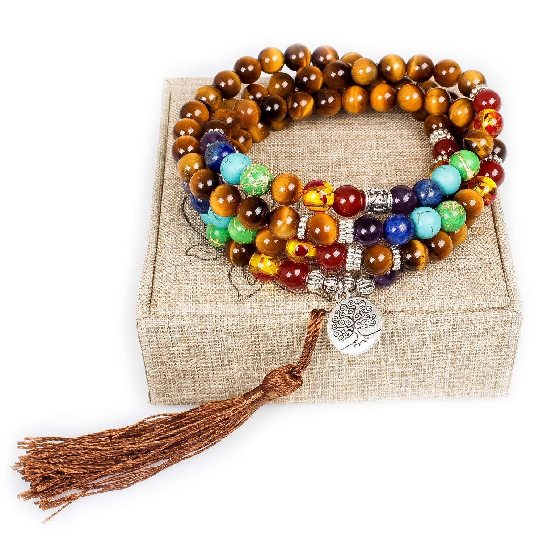 Mala Beads,108 Tiger Eye Gemstone Stone Wrist Mala Bracelet Necklace Tibetan Prayer Bead(Tiger Eye,Tree) by Addmluck