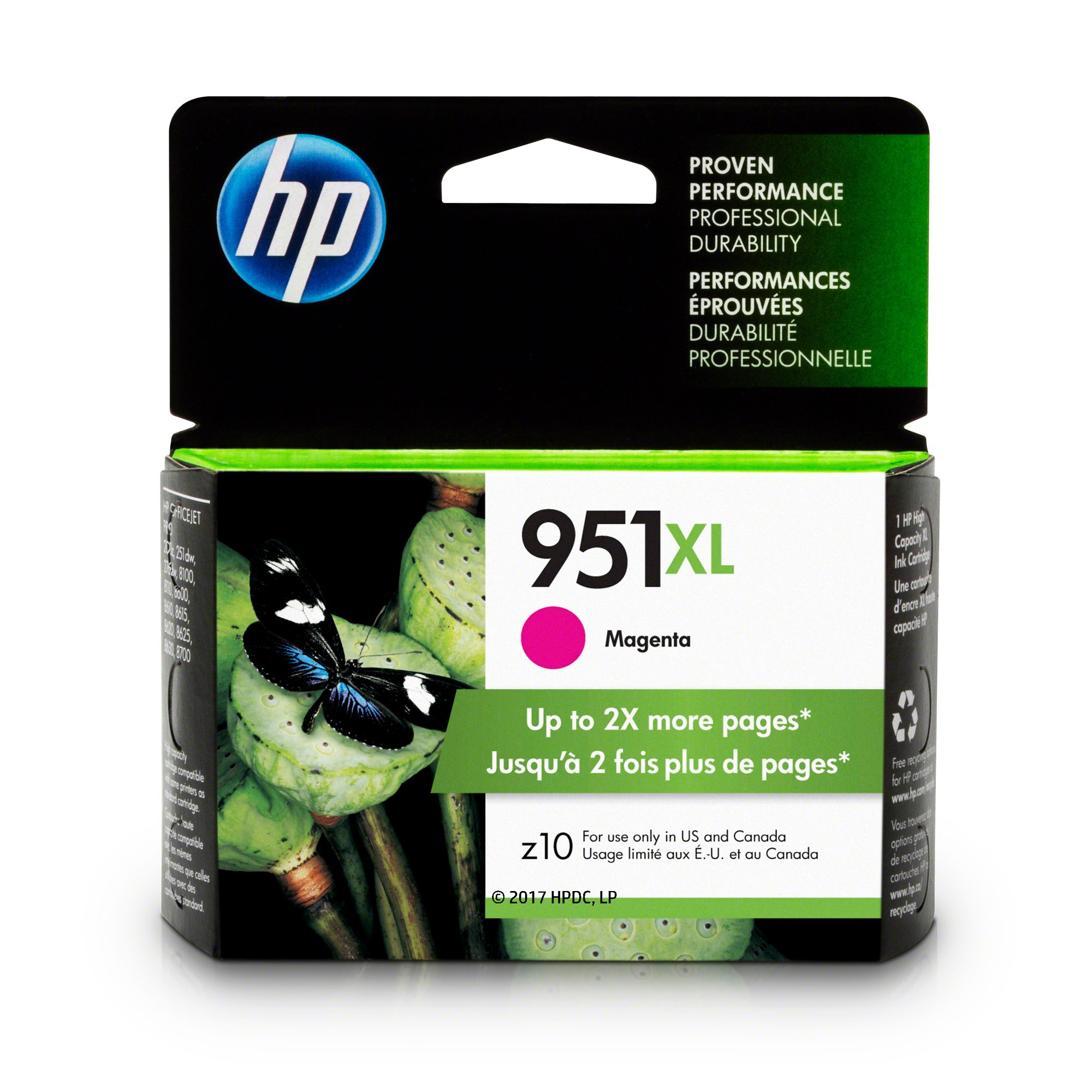 HP CN047AN#140 951XL Ink Cartridge, Magenta High Yield (CN047AN) for Officejet Pro 251, 276, 8100, 8600, 8610, 8620, 8625, 8630