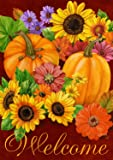 "Fall Glory Floral House Flag Autumn Pumpkins Sunflowers 28"" x 40"""