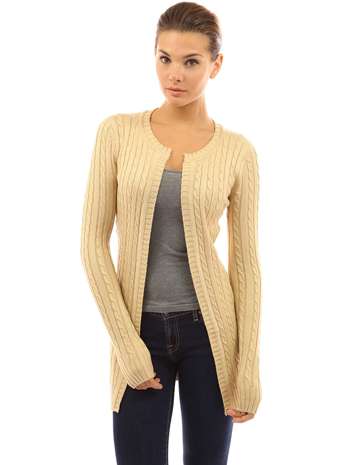 PattyBoutik Women's Cable Knit Open Front Cardigan