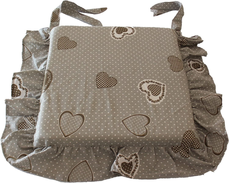 Set 6 cuscini shabby cuore grigio pois bianco con volant 40x40 spessore 5 cm, copri sedia cucina, Euronovità