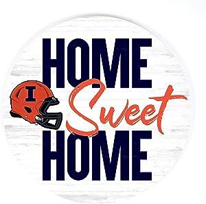 P. Graham Dunn Home Sweet Home Football University of Illinois NCAA 17 x 17 Wood Barrel Top Sign