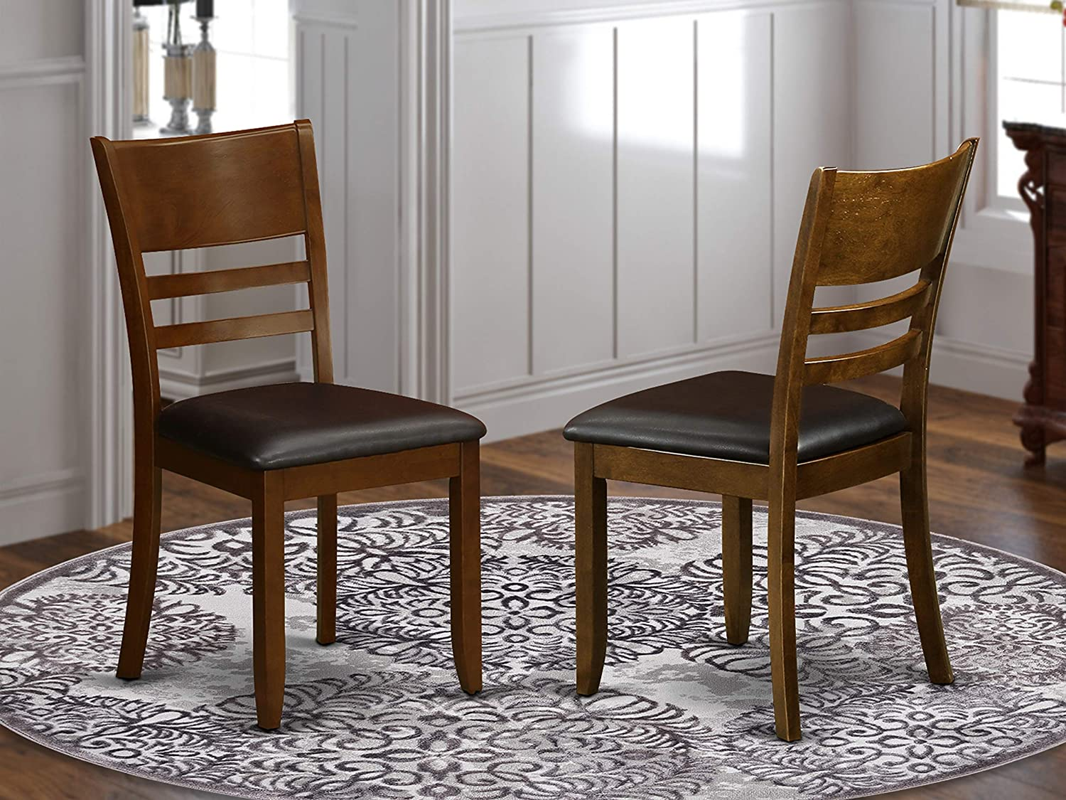 East West Furniture Lynfield dining chairs - Faux Leather Seat and Espresso Solid wood Frame dining room chair Set of 2