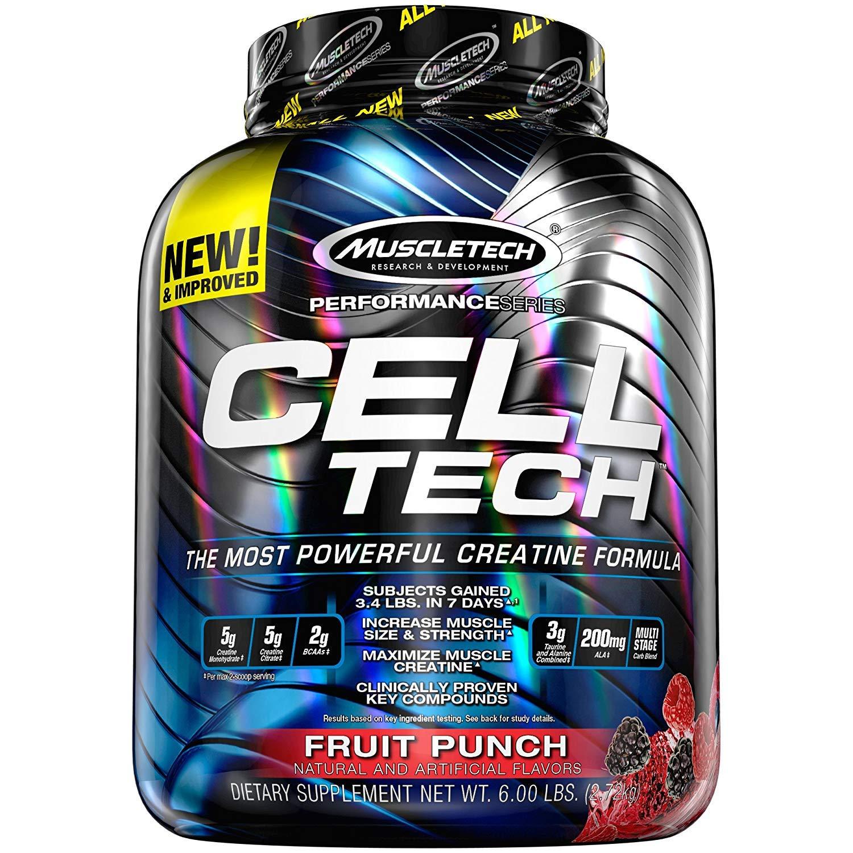 MuscleTech CellTech Creatine Powder, Micronized Creatine, Creatine HCl, Fruit Punch, 6 Pounds