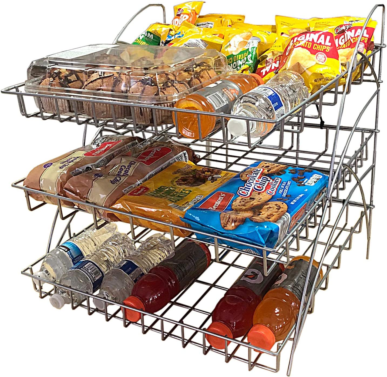 FixtureDisplays Metal Wire Rack for Chips Beverages Confectionaries Table Countertop 3-Shelf Display 19392
