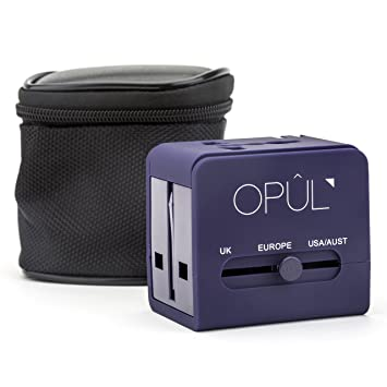 Adaptador de viaje universal con carcasa antigolpes, 2 puertos USB ...
