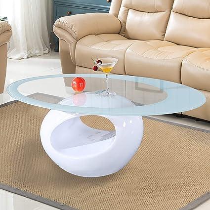 Amazoncom Mecor Glass Coffee Table With Round Hollow Shelf Modern